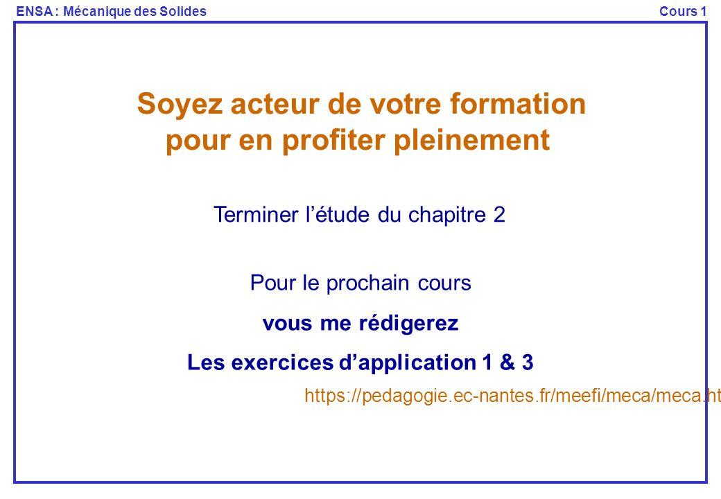 Soyez acteur de votre formation Les exercices d'application 1 & 3