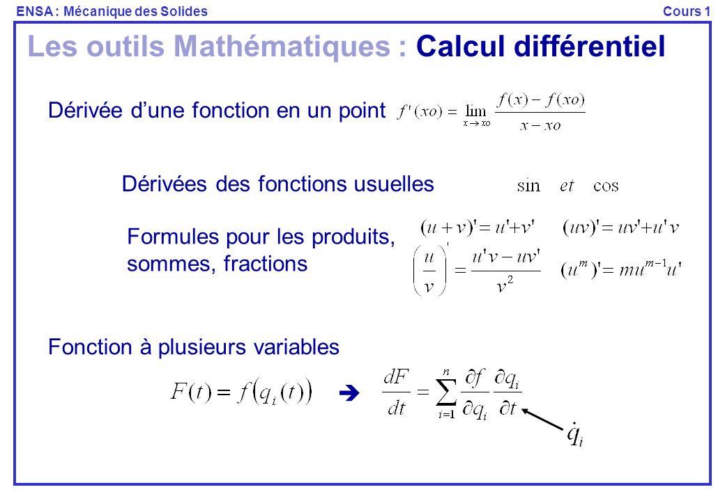 Les outils Mathématiques : Calcul différentiel