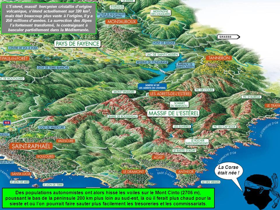 L'Esterel, massif hercynien cristallin d'origine volcanique, s'étend actuellement sur 320 km2, mais était beaucoup plus vaste à l'origine, il y a 250 millions d'années. La surrection des Alpes l'a fortement transformé, le contraignant à basculer partiellement dans la Méditerranée.