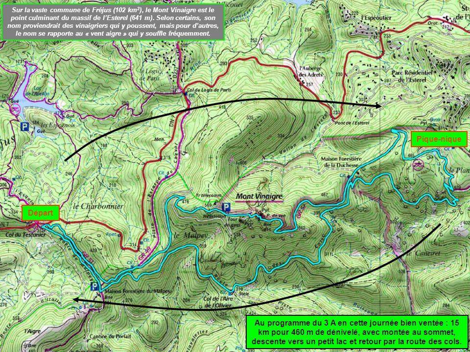 Sur la vaste commune de Fréjus (102 km2), le Mont Vinaigre est le point culminant du massif de l'Esterel (641 m). Selon certains, son nom proviendrait des vinaigriers qui y poussent, mais pour d'autres, le nom se rapporte au « vent aigre » qui y souffle fréquemment.