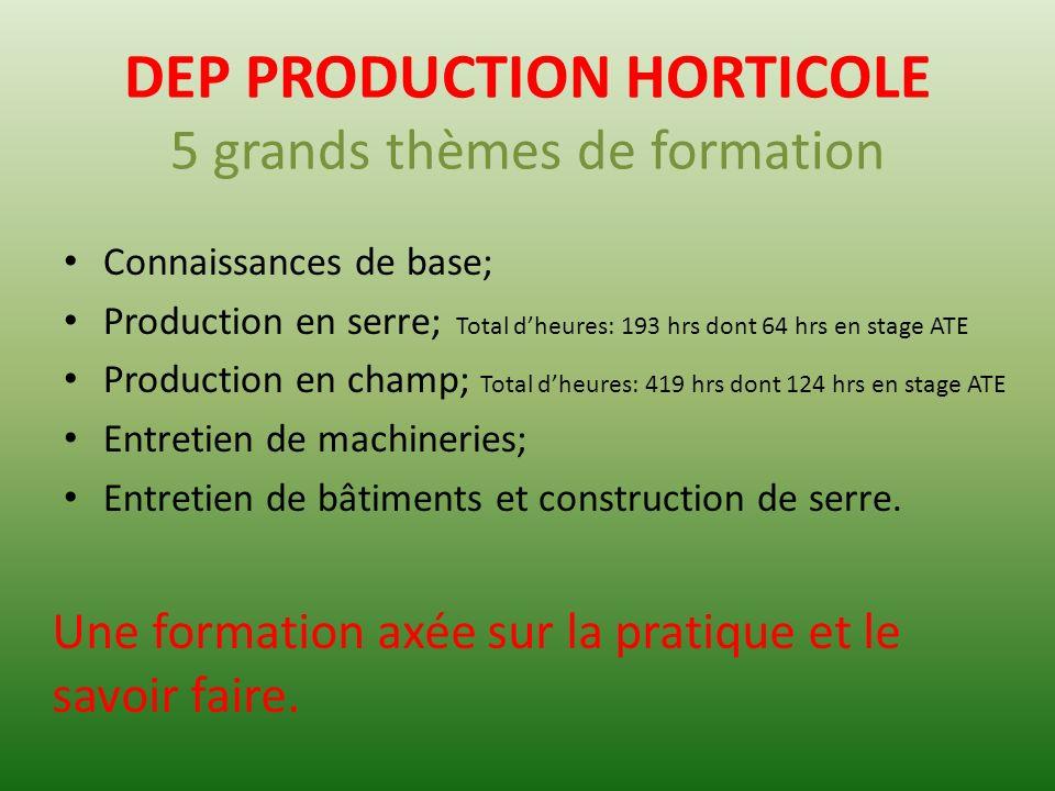DEP PRODUCTION HORTICOLE 5 grands thèmes de formation