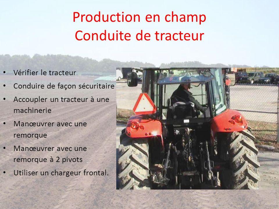Production en champ Conduite de tracteur