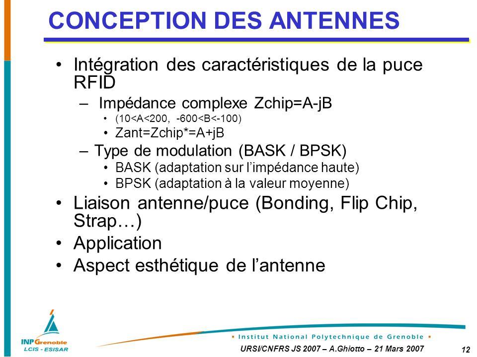 CONCEPTION DES ANTENNES