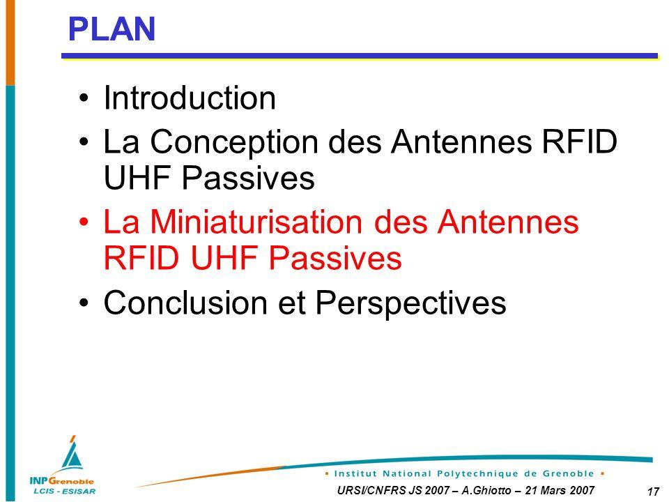 PLAN Introduction. La Conception des Antennes RFID UHF Passives. La Miniaturisation des Antennes RFID UHF Passives.