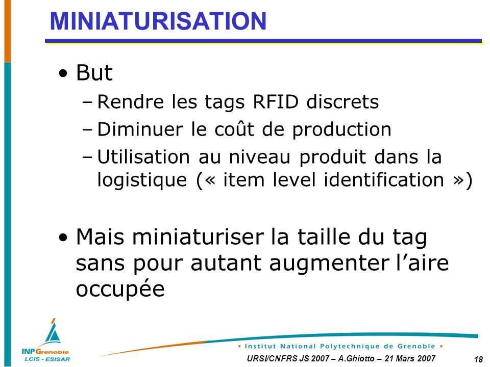 MINIATURISATION But. Rendre les tags RFID discrets. Diminuer le coût de production.