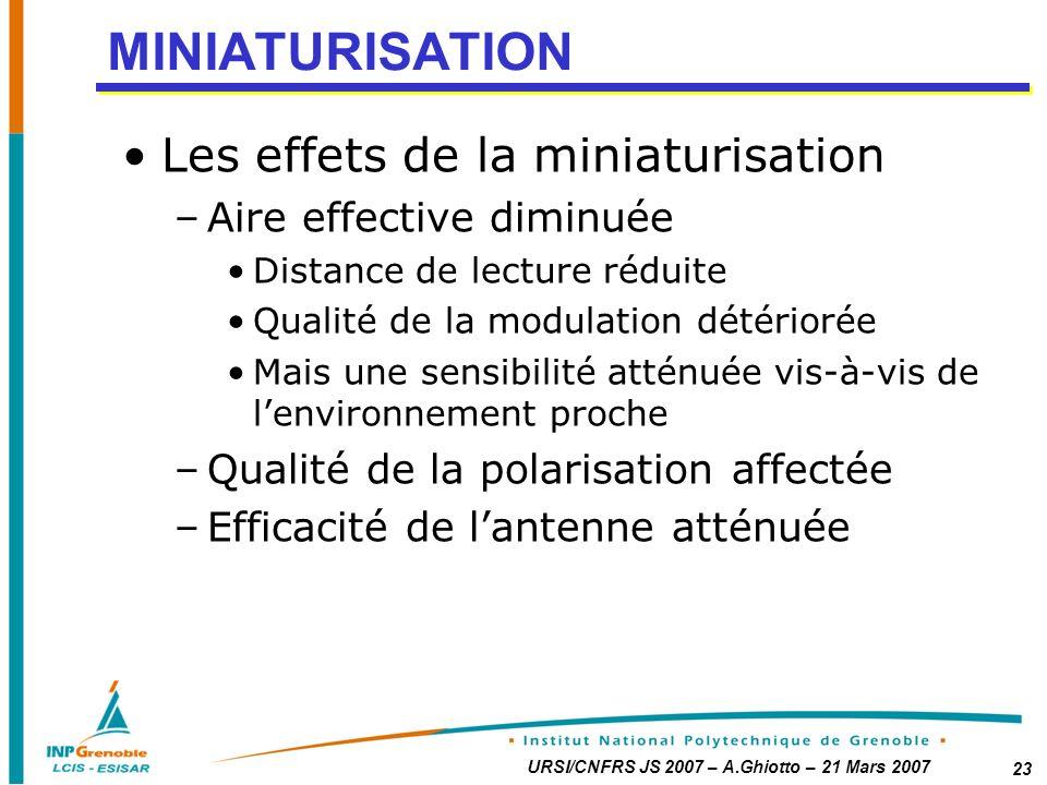 MINIATURISATION Les effets de la miniaturisation