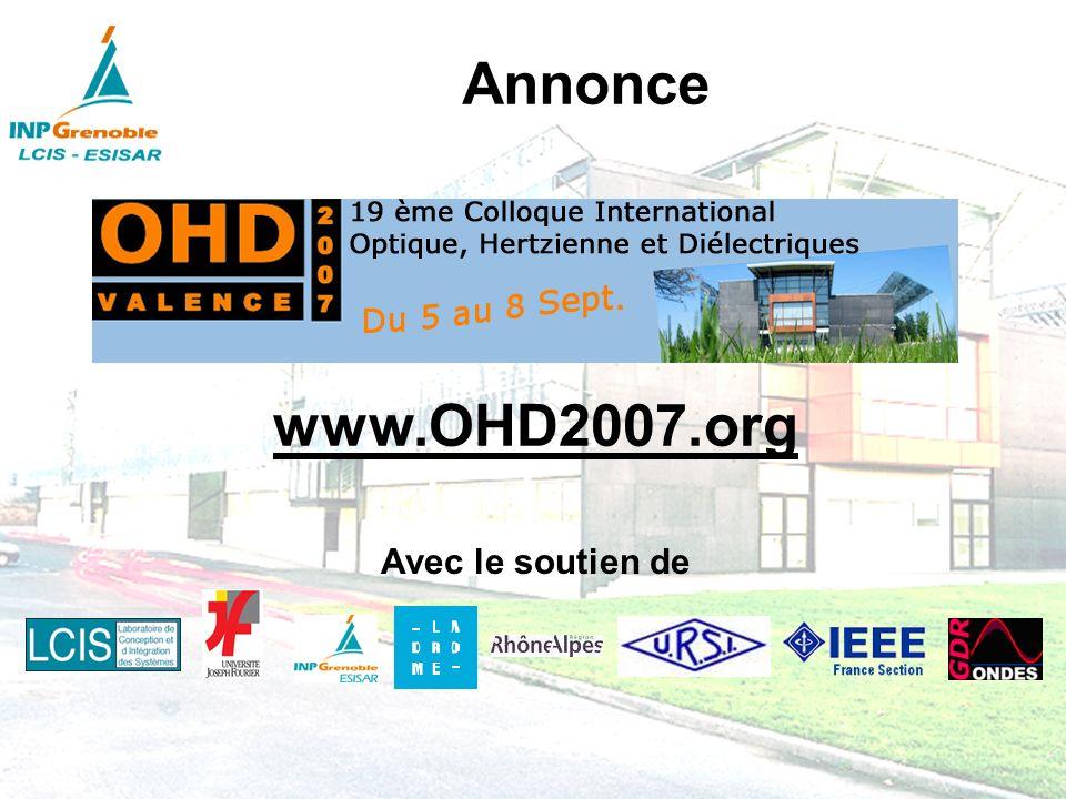 Annonce www.OHD2007.org Avec le soutien de