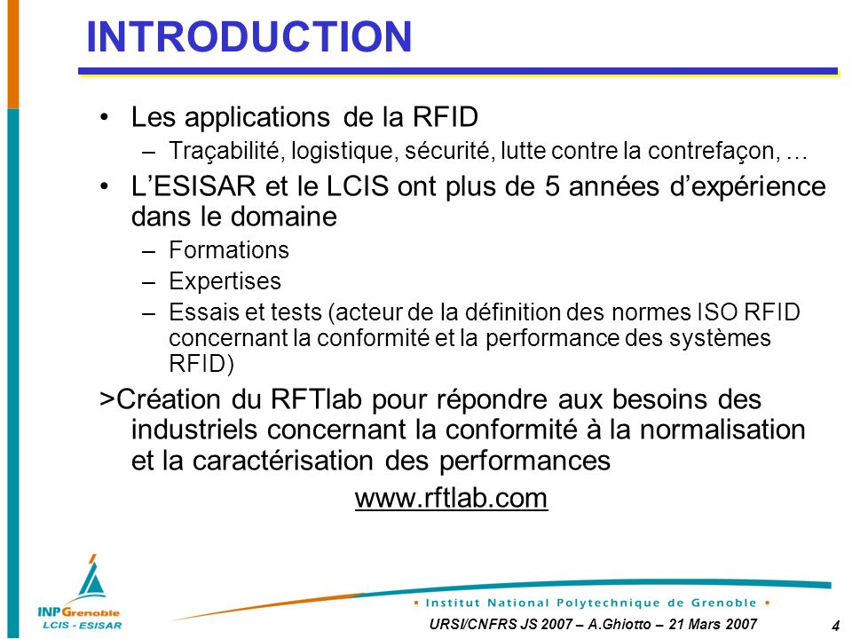 INTRODUCTION Les applications de la RFID
