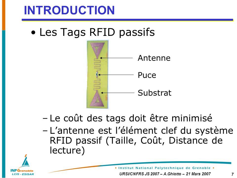 INTRODUCTION Les Tags RFID passifs Le coût des tags doit être minimisé