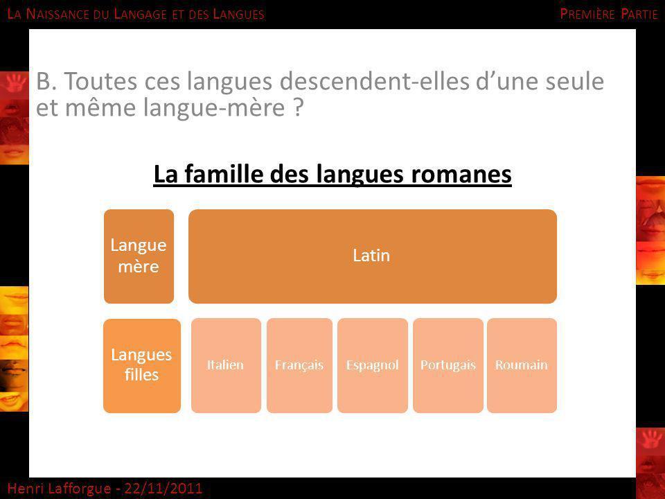 La famille des langues romanes