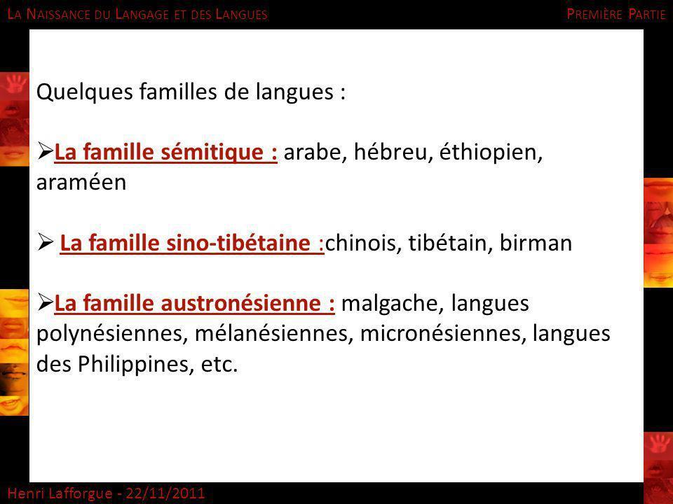 Quelques familles de langues :