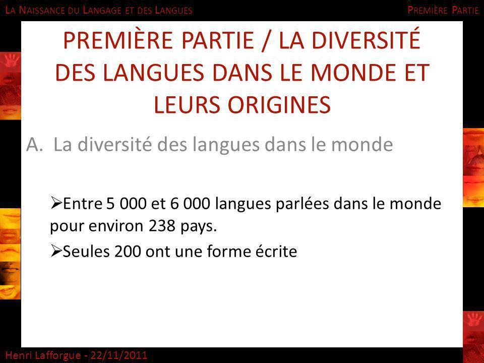 Première Partie Première Partie / La diversité des langues dans le monde et leurs origines. La diversité des langues dans le monde.
