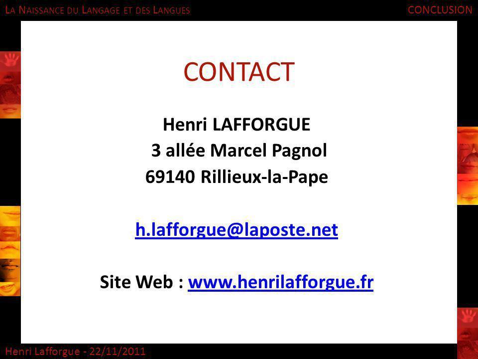 CONTACT Henri LAFFORGUE 3 allée Marcel Pagnol 69140 Rillieux-la-Pape
