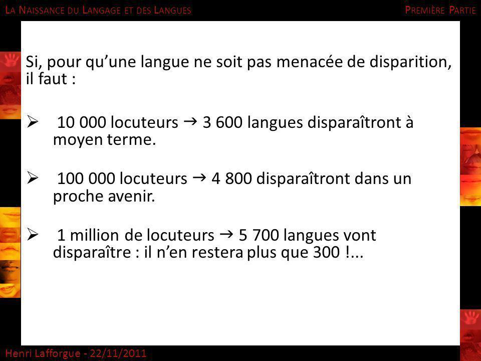 Si, pour qu'une langue ne soit pas menacée de disparition, il faut :