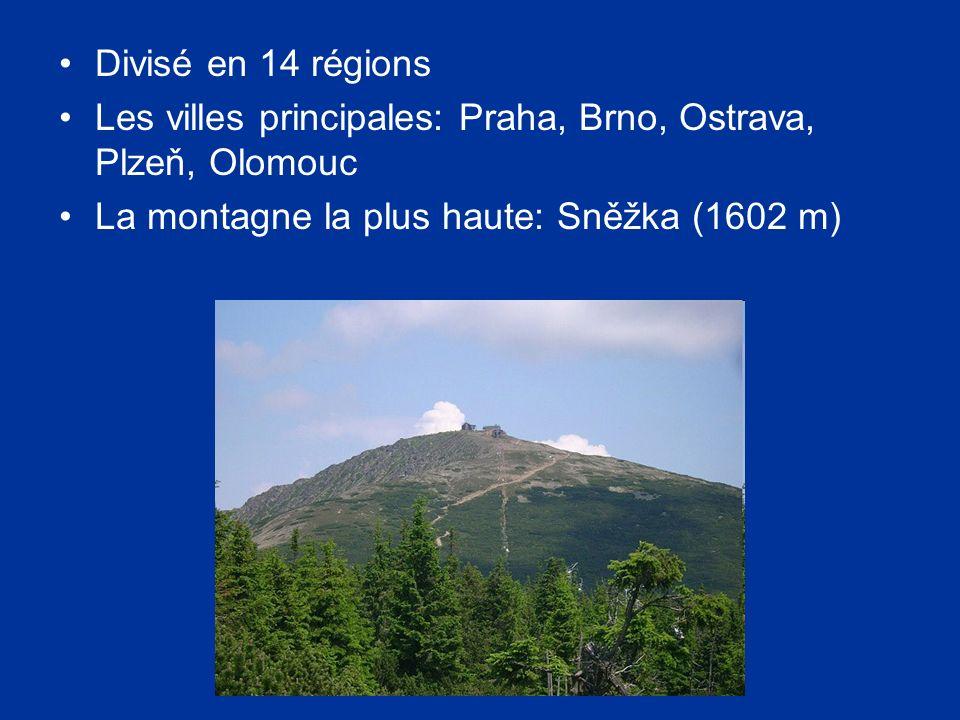 Divisé en 14 régions Les villes principales: Praha, Brno, Ostrava, Plzeň, Olomouc.