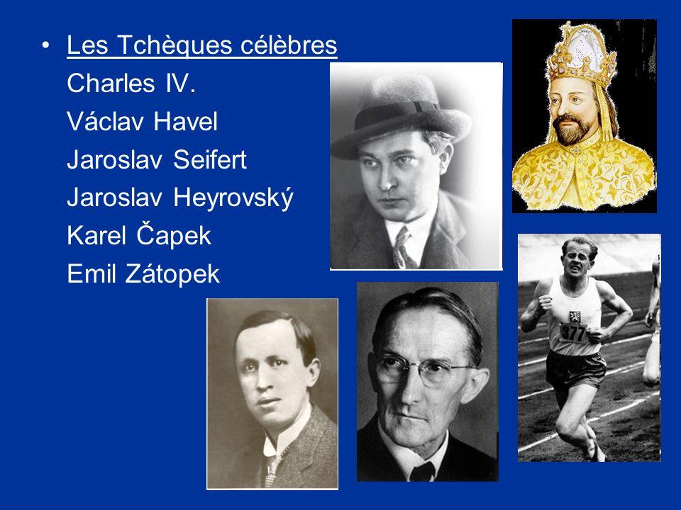 Les Tchèques célèbres Charles IV. Václav Havel. Jaroslav Seifert. Jaroslav Heyrovský. Karel Čapek.