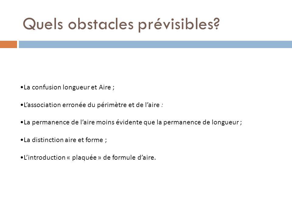 Quels obstacles prévisibles