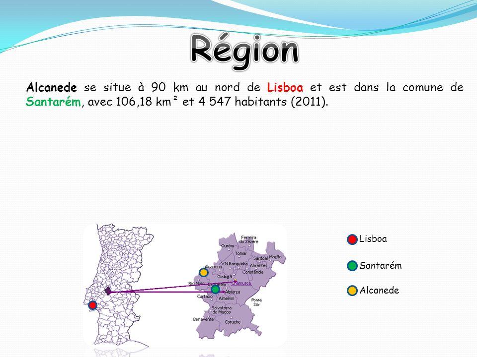 Région Alcanede se situe à 90 km au nord de Lisboa et est dans la comune de Santarém, avec 106,18 km² et 4 547 habitants (2011).