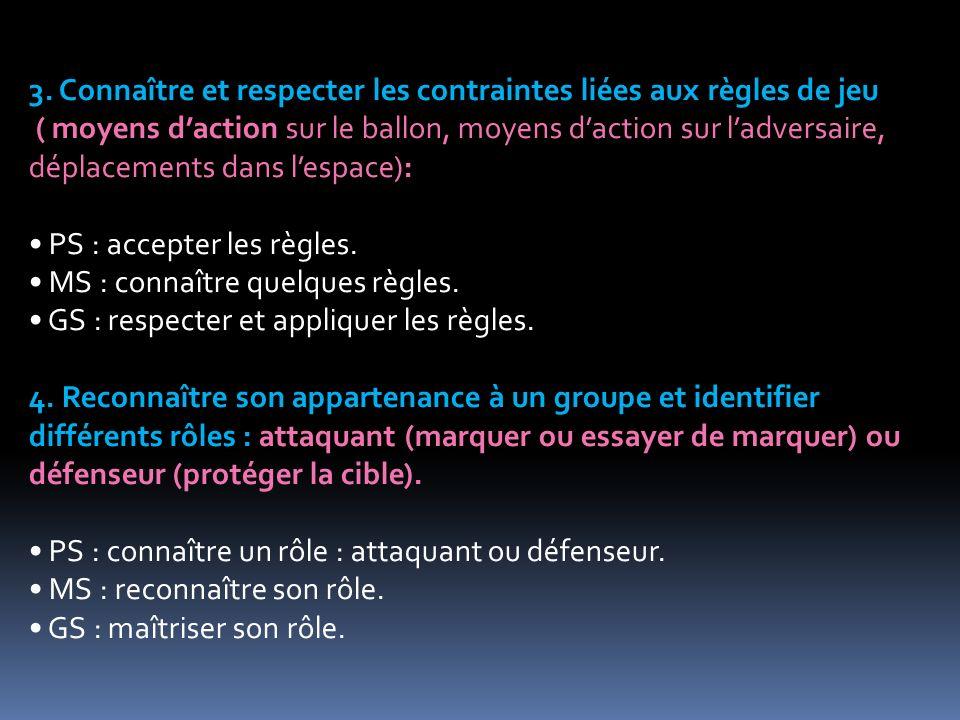 3. Connaître et respecter les contraintes liées aux règles de jeu