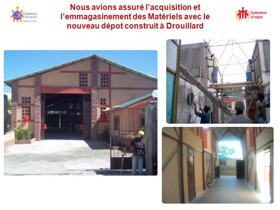Nous avions assuré l'acquisition et l'emmagasinement des Matériels avec le nouveau dépot construit à Drouillard