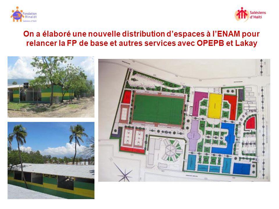 On a élaboré une nouvelle distribution d'espaces à l'ENAM pour relancer la FP de base et autres services avec OPEPB et Lakay
