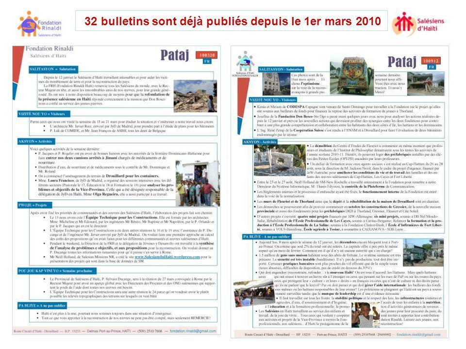 32 bulletins sont déjà publiés depuis le 1er mars 2010
