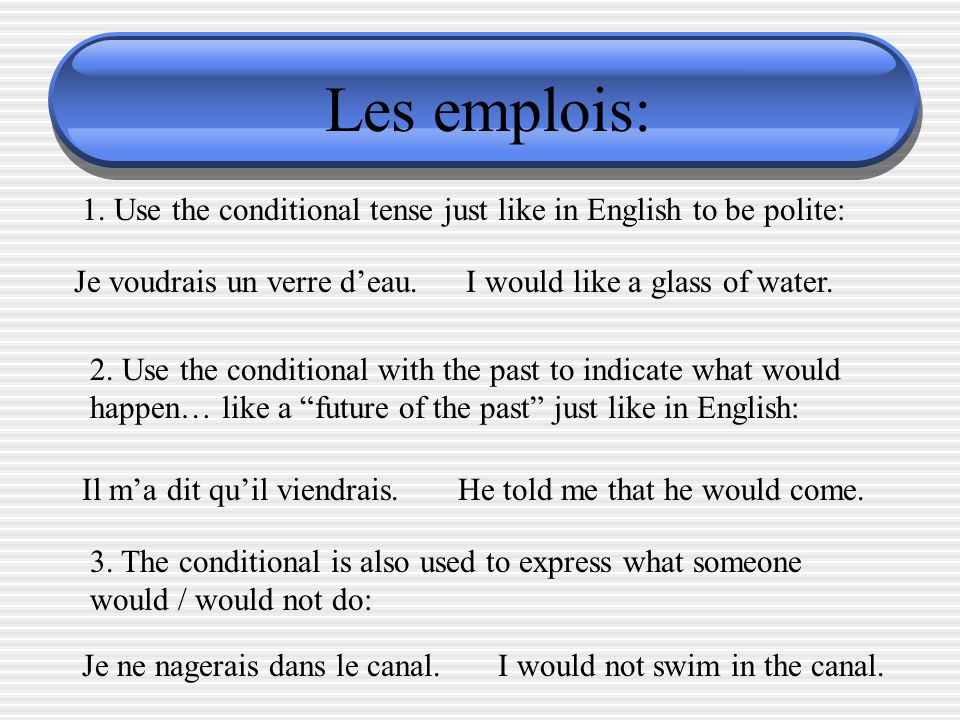 Les emplois: 1. Use the conditional tense just like in English to be polite: Je voudrais un verre d'eau.