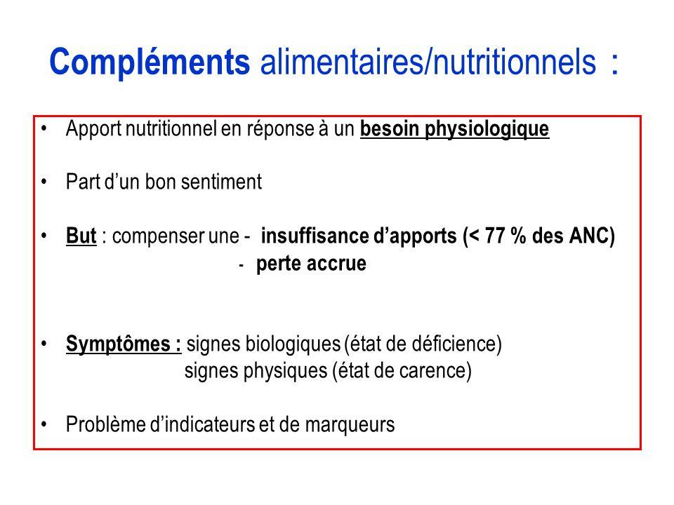 Compléments alimentaires/nutritionnels :