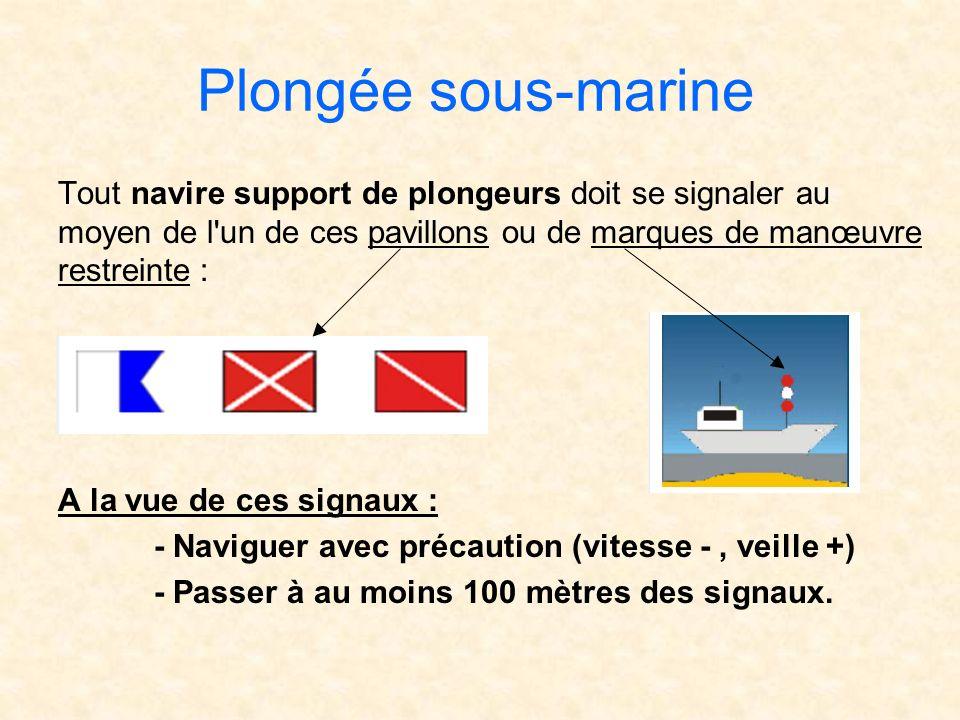Plongée sous-marine Tout navire support de plongeurs doit se signaler au moyen de l un de ces pavillons ou de marques de manœuvre restreinte :