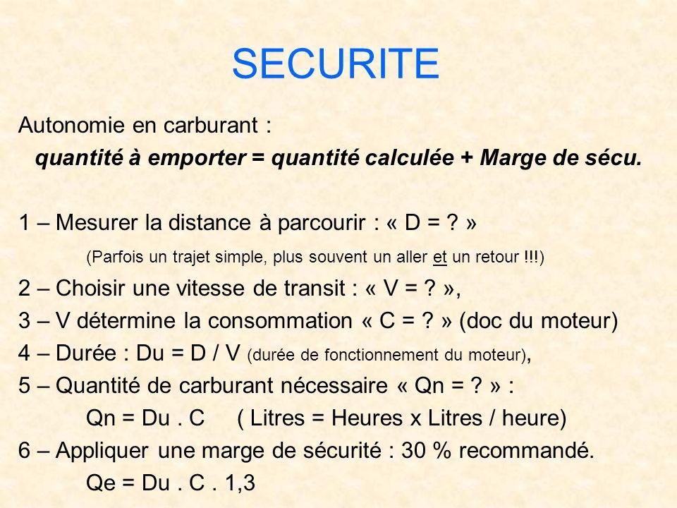 quantité à emporter = quantité calculée + Marge de sécu.