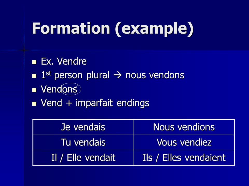 Formation (example) Ex. Vendre 1st person plural  nous vendons