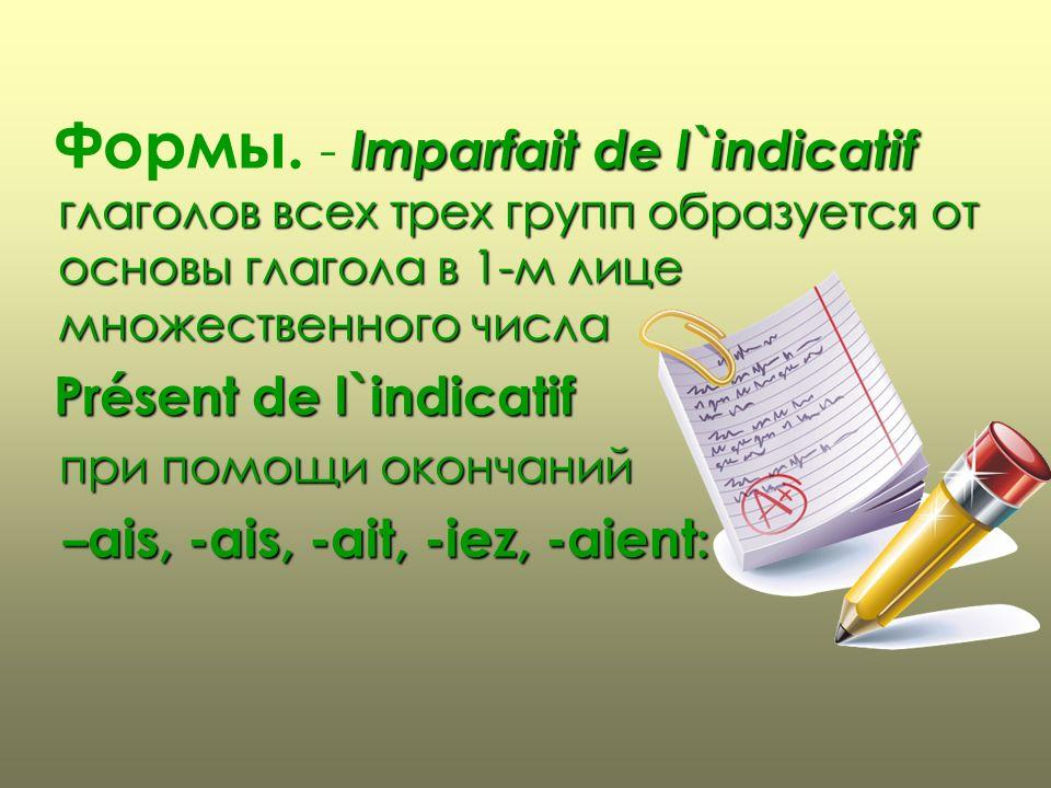 Формы. - Imparfait de l`indicatif глаголов всех трех групп образуется от основы глагола в 1-м лице множественного числа
