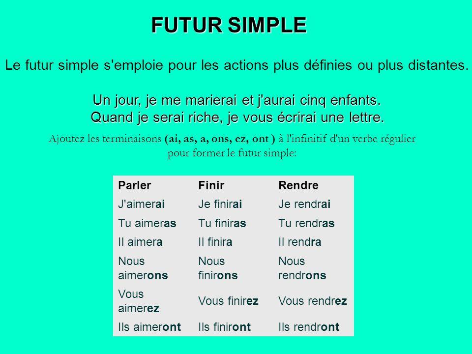 FUTUR SIMPLE Le futur simple s emploie pour les actions plus définies ou plus distantes. Un jour, je me marierai et j aurai cinq enfants.