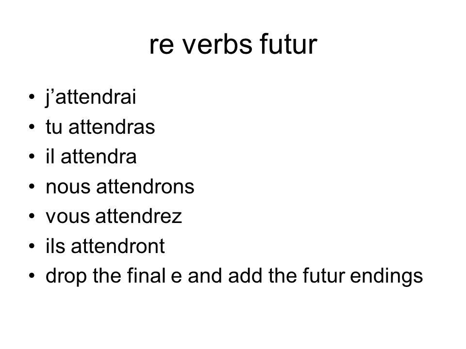 re verbs futur j'attendrai tu attendras il attendra nous attendrons
