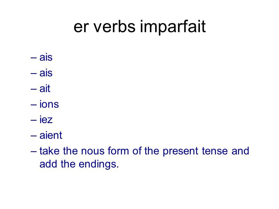 er verbs imparfait ais ait ions iez aient