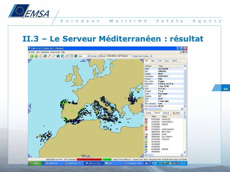 II.3 – Le Serveur Méditerranéen : résultat