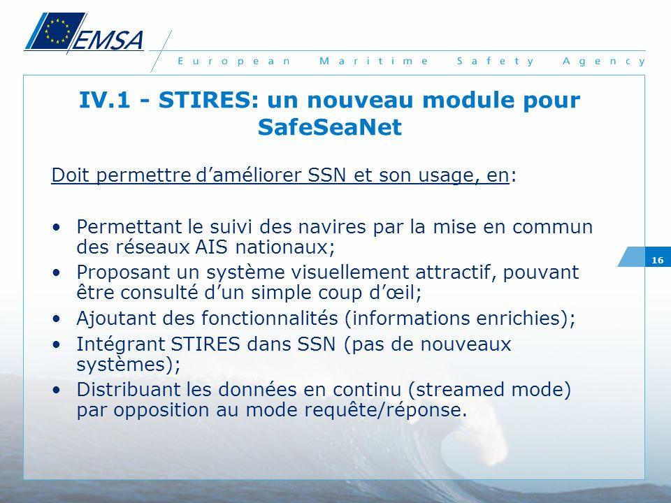 IV.1 - STIRES: un nouveau module pour SafeSeaNet