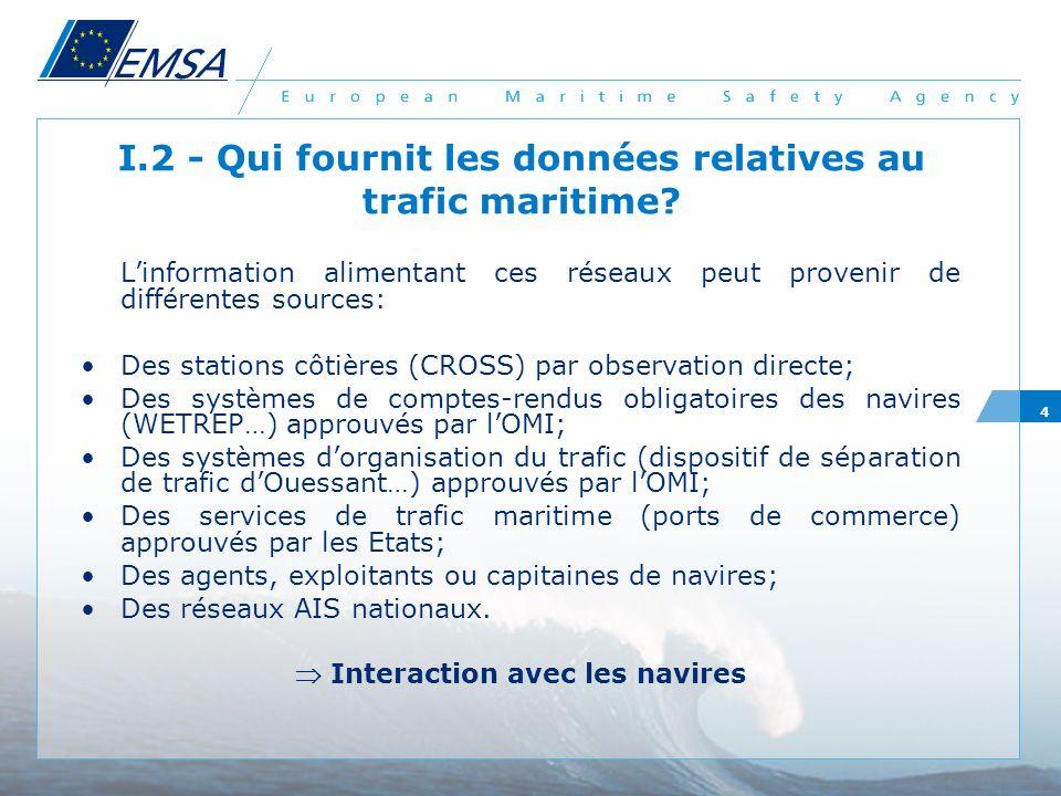 I.2 - Qui fournit les données relatives au trafic maritime