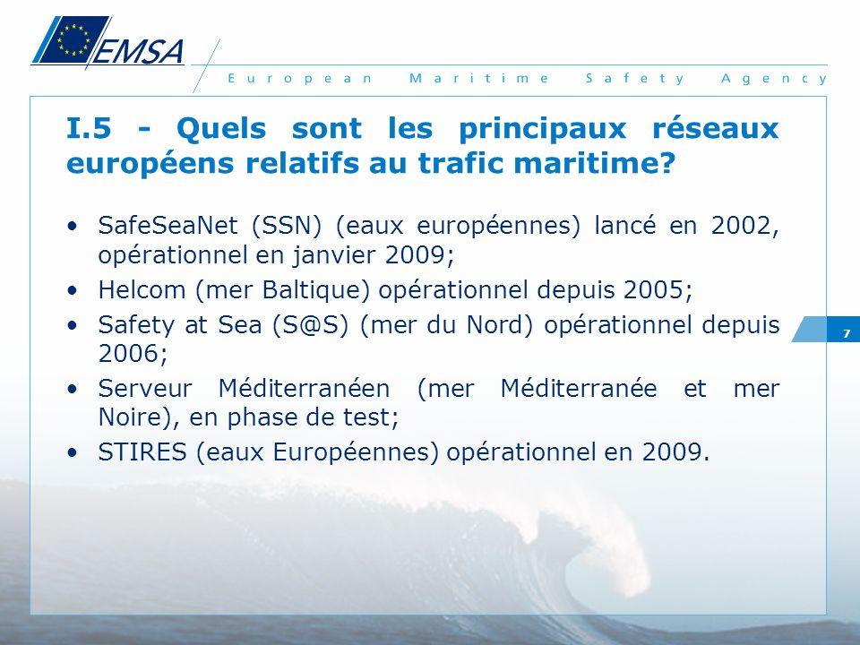 I.5 - Quels sont les principaux réseaux européens relatifs au trafic maritime