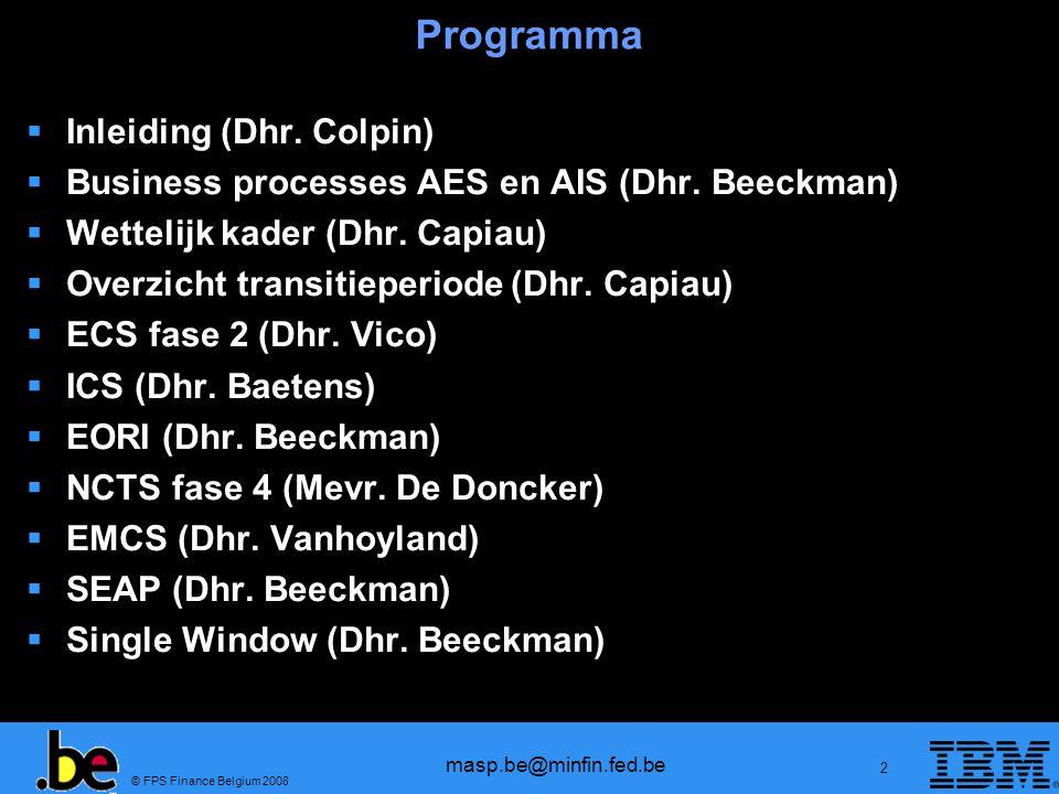 Programma Inleiding (Dhr. Colpin)