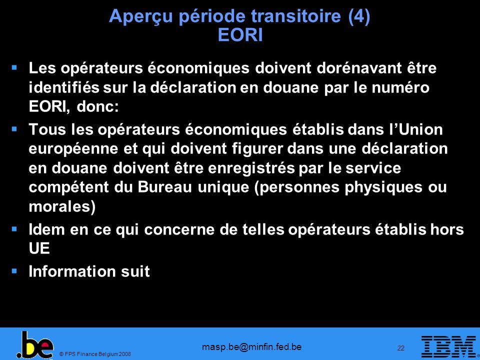 Aperçu période transitoire (4) EORI