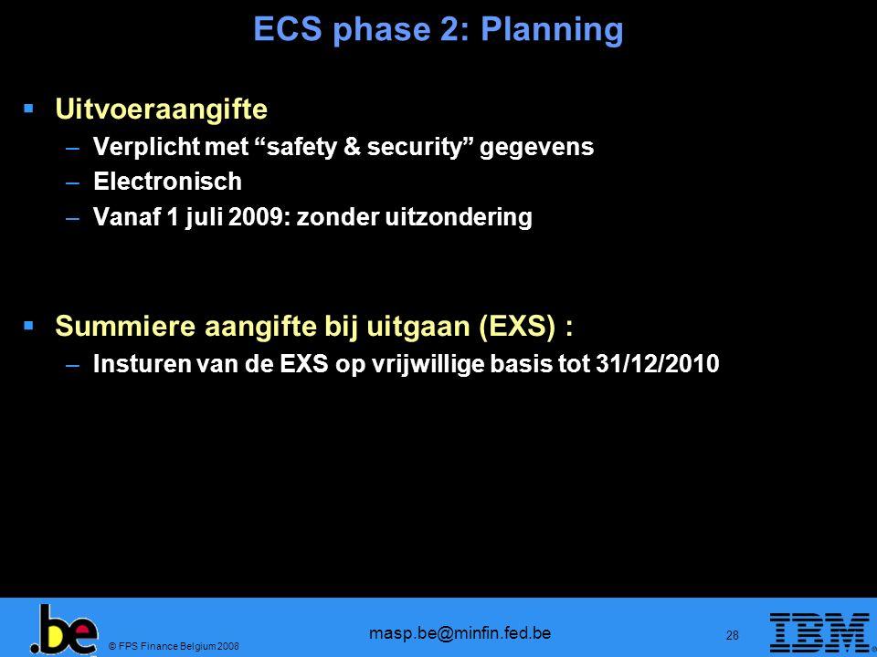 ECS phase 2: Planning Uitvoeraangifte