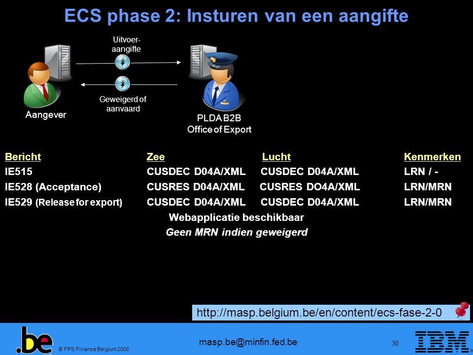 ECS phase 2: Insturen van een aangifte
