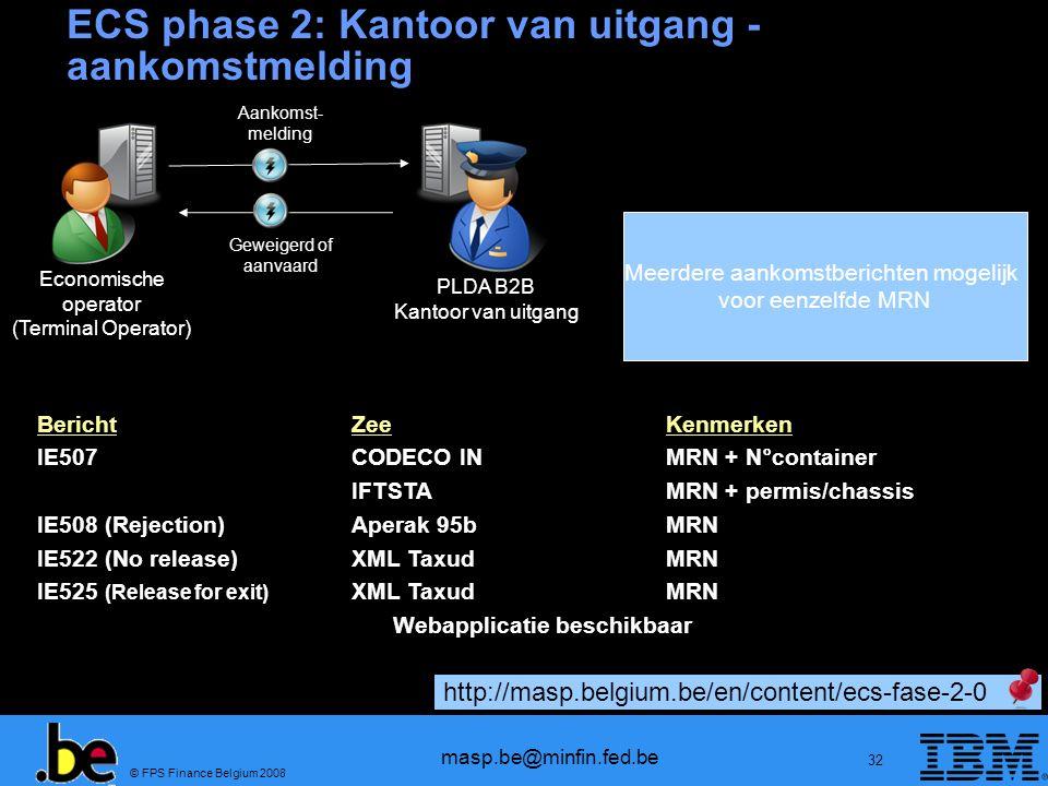 ECS phase 2: Kantoor van uitgang - aankomstmelding