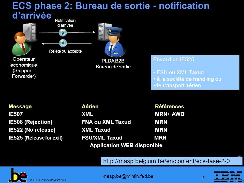 ECS phase 2: Bureau de sortie - notification d'arrivée