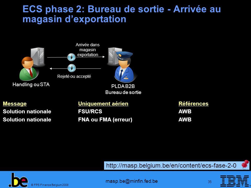 ECS phase 2: Bureau de sortie - Arrivée au magasin d'exportation