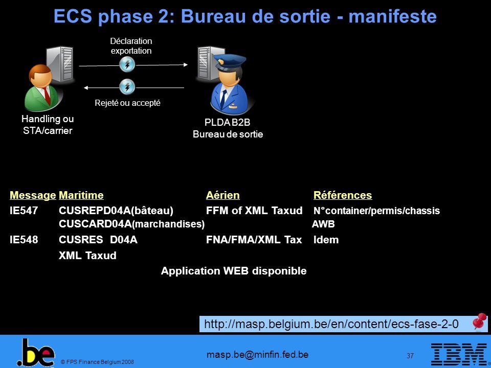 ECS phase 2: Bureau de sortie - manifeste