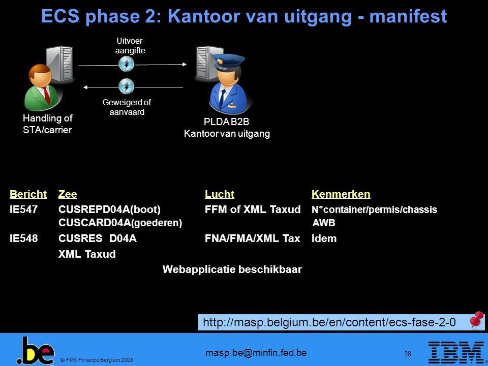 ECS phase 2: Kantoor van uitgang - manifest