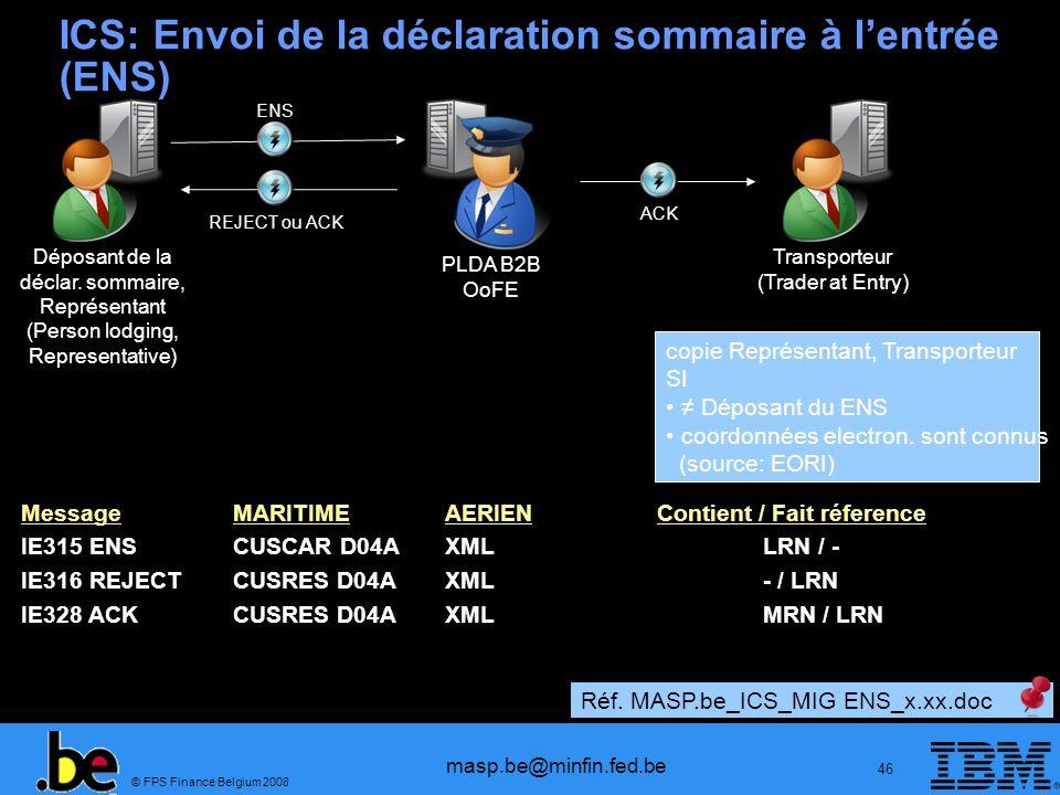 ICS: Envoi de la déclaration sommaire à l'entrée (ENS)