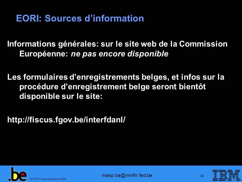 EORI: Sources d'information
